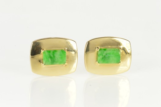 18K Retro Jade Ornate Rounded Men's Yellow Gold Cuff Links