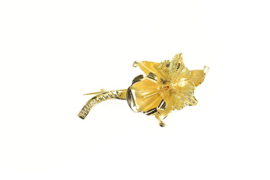 18K Retro Ornate Orchid Flower 3D Statement Yellow Gold Pin/Brooch