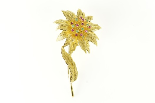 18K Retro Ornate Ruby Emerald Cluster Flower Yellow Gold Pin/Brooch