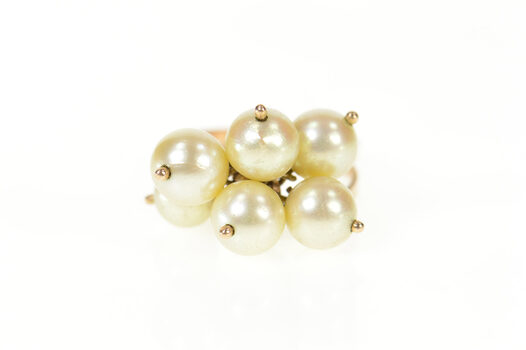 18K Retro Pearl Beaded Fringe 1960's Statement Yellow Gold Ring, Size 5.75