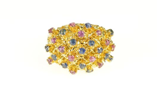 18K Retro Ruby Sapphire Domed Statement Cocktail Yellow Gold Ring, Size 6