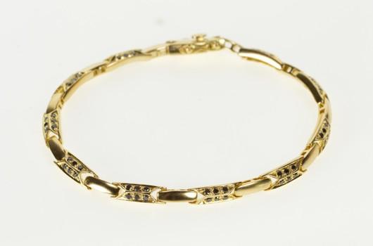"18K Retro Sapphire Encrusted Bar Link Fashion Yellow Gold Bracelet 7.75"""