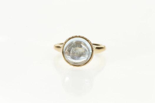 18K Round Blue Topaz Cabochon Diamond Almaza Yellow Gold Ring, Size 6