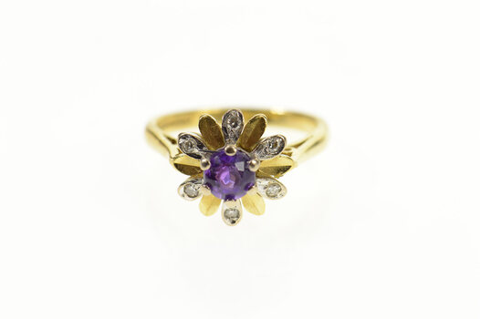 18K Round Syn. Amethyst Diamond Flower Cocktail Yellow Gold Ring, Size 3
