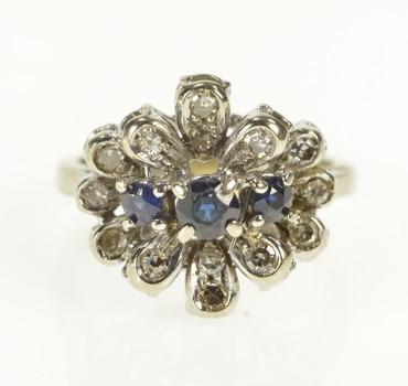 18K Sapphire Diamond Petal Halo Engagement White Gold Ring, Size 5