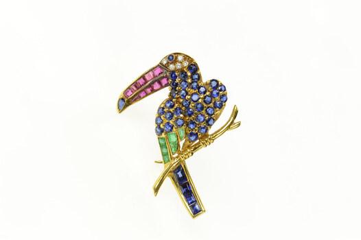 18K Sapphire Diamond Ruby Emerald Parrot Yellow Gold Pin/Brooch