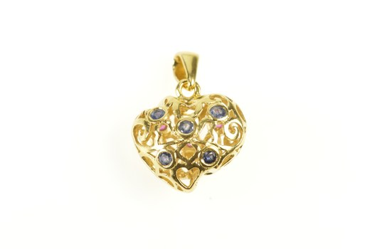 18K Sapphire Ruby Reversible Filigree Heart Yellow Gold Charm/Pendant