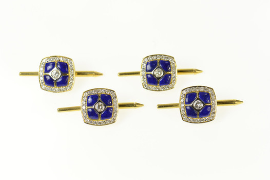18K Squared Lapis Lazuli Diamond Tuxedo Stud Yellow Gold Cuff Links