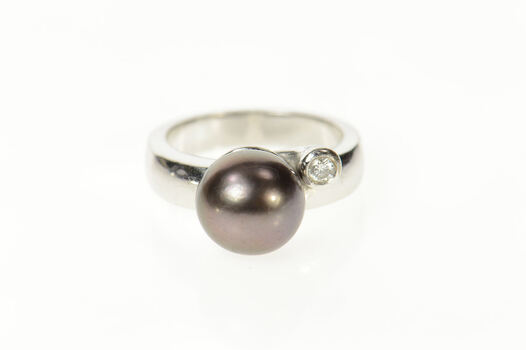 18K Tahitian Pearl Diamond Accent Statement White Gold Ring, Size 7.25