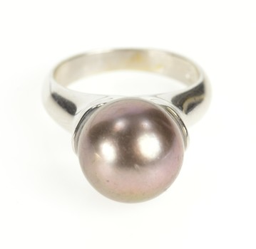 18K Tahitian Pearl Ornate Bezel Cocktail White Gold Ring, Size 5.75