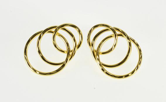 18K Textured Tiered Interlocking Circle Post Back Yellow Gold EarRings