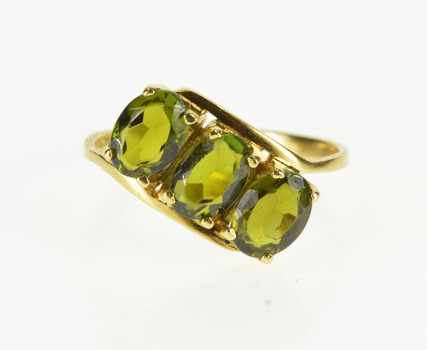 18K Three Stone Oval Peridot Bypass Freeform Yellow Gold Ring, Size 6.5