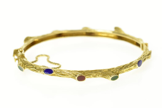 "18K Tree Branch Nature Motif Enamel Bangle Yellow Gold Bracelet 6.75"""