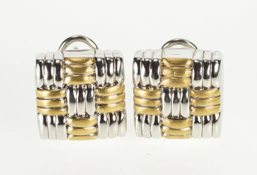 18K Two Tone Woven Plaid Design Puffy French Clip White Gold Earrings