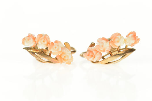 18K Victorian Carved Rose Flower Screw Back Yellow Gold Earrings