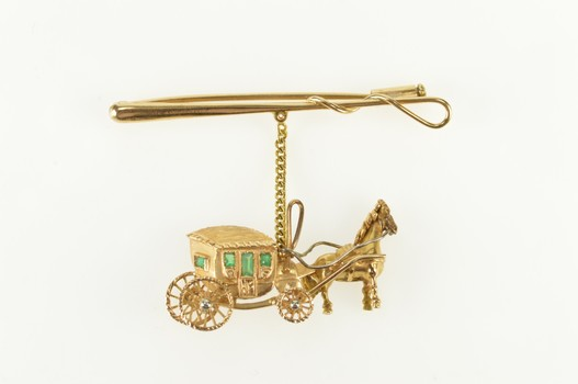 18K Victorian Emerald Horse Drawn Carriage Bar Yellow Gold Pin/Brooch