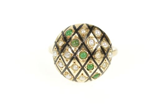 18K Victorian Pearl Jade Checkered Dome Cocktail Yellow Gold Ring, Size 6