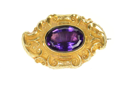 18K Victorian Scroll Ornate Amethyst Mourning Yellow Gold Pin/Brooch