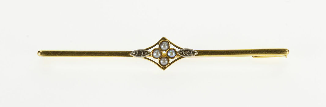 18K Victorian Seed Pearl Inset Diamond Accented Yellow Gold Pin/Brooch