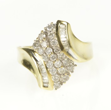 18K Wavy Diamond Cluster Cocktail Statement Yellow Gold Ring, Size 8.25