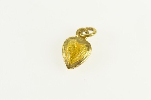 18K Yellow Enamel Puffy Heart Forget Me Not Yellow Gold Charm/Pendant