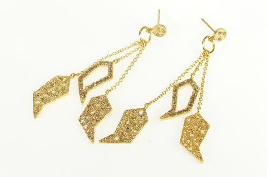 20K Diamond Encrusted Geometric Dangle Disco Yellow Gold Earrings