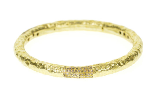 "22K 1.20 Ctw Hammered Diamond Statement Bangle Yellow Gold Bracelet 8.25"""