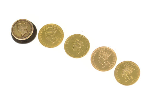 22K 1800's Indian Princess & Liberty Head Coin Button Covers Yellow Gold