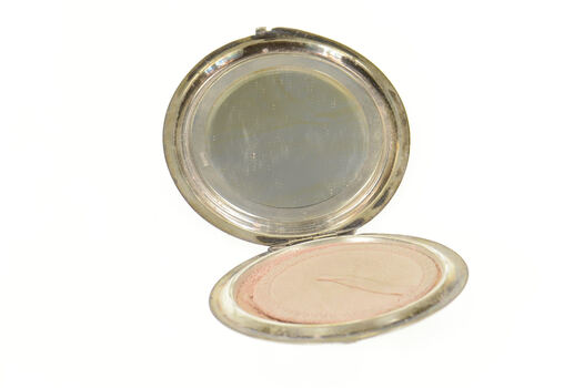 800 Silver Etched Ornate Sunflower Round Mirror Compact