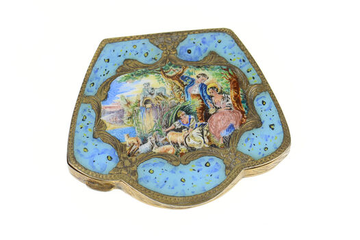 800 Silver Ornate Painted Enamel Art Deco Mirror Compact