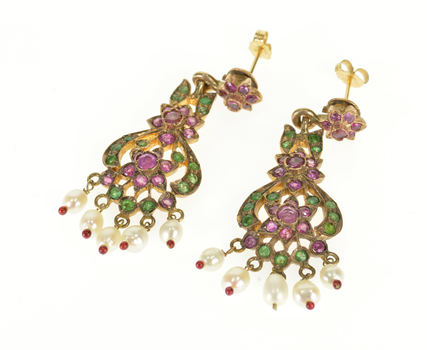 8K 2.50 Ctw Ruby Emerald Seed Pearl Victorian Dangle Yellow Gold EarRings