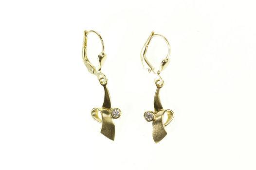 8K Diamond Inset Ribbon Loop Dangle Lever Yellow Gold Earrings