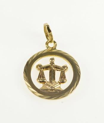 8K Libra Astrological Zodiac Scales Symbol Yellow Gold Charm/Pendant