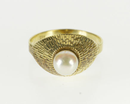 8K Pearl Inset Textured Raised Design Statement Yellow Gold Ring, Size 6