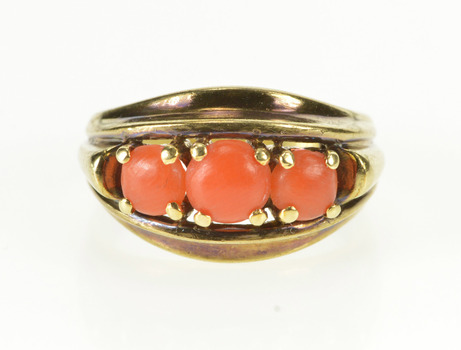 8K Victorian Coral Ornate Alternative Engagement Yellow Gold Ring, Size 5.25