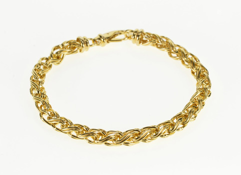 "9K Grooved Design Wheat Palma Link Fancy Chain Yellow Gold Bracelet 7"""
