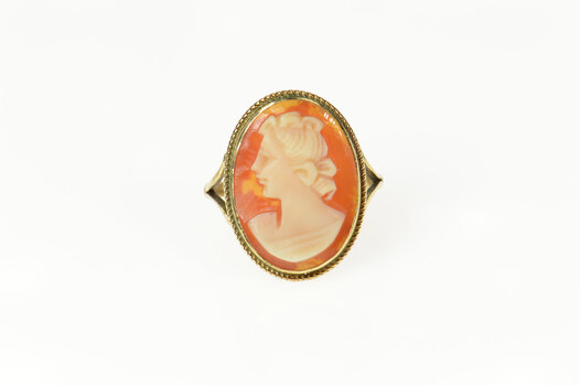 9K Ornate Carved Elegant Lady Shell Cameo Yellow Gold Ring, Size 4.75