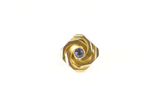 9K Retro Syn. Sapphire Twist Knot Slide Bracelet Yellow Gold Charm/Pendant