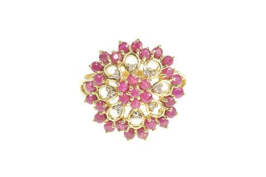 9K Ruby Diamond Ornate Halo Filigree Cocktail Yellow Gold Ring, Size 8
