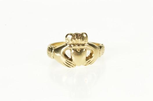 9K Traditional Celtic Irish Claddagh Loyalty Yellow Gold Ring, Size 5.75