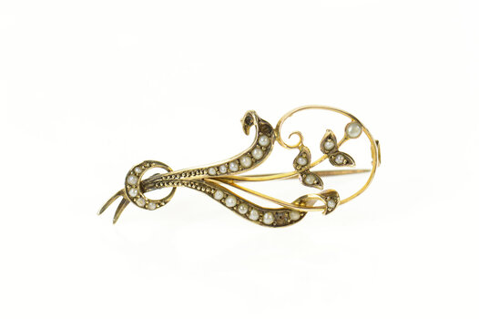 9K Victorian Ornate Seed Pearl Floral Vine Yellow Gold Pin/Brooch