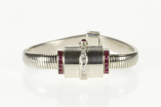 Art Deco Movado 1.00 Ctw Diamond Ruby Watch - Women's