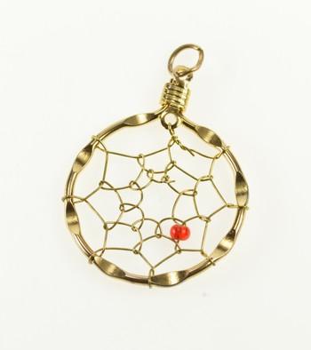 Base Metal Ornate Dream Catcher Spider Web Red Bead Charm/Pendant