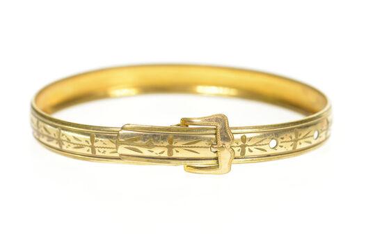 """Gold Filled Art Deco Etched Belt Buckle Bangle Ornate Bracelet 7.25"""""""