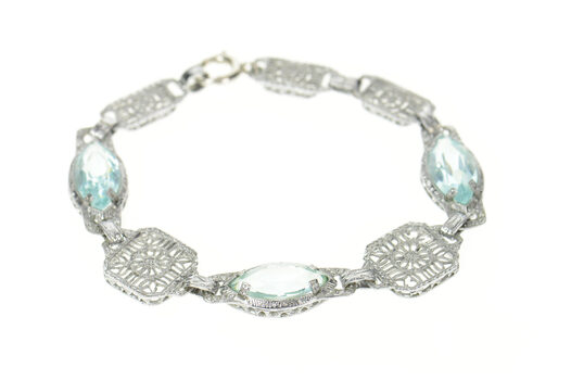 "Gold Filled Art Deco Ornate Filigree Syn. Blue Topaz Bracelet 6.75"""