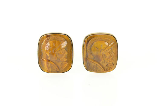 Gold Filled Carved Tiger's Eye Soldier Cameo Men's Cuff Links