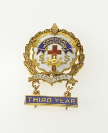 Gold Filled Evangelical United Brethren Ornate Enamel Pin/Brooch