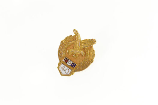 Gold Filled FOE Fraternal Order of the Eagle 40 Year Lapel Pin/Brooch