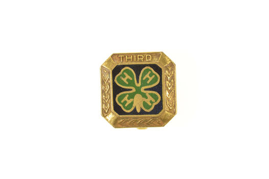 Gold Filled Four H 4H Enamel Clover 3rd Third Lapel Pin/Brooch