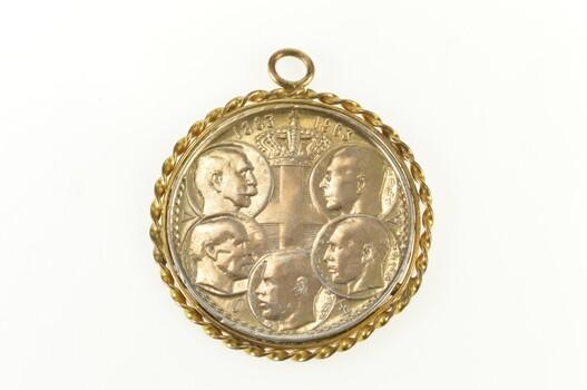 Gold Filled Greek 1963 Silver 30 Drachmai Coin 5 Portraits Charm/Pendant